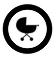 baby carriage icon black color in circle vector image
