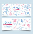 back to school line art on notebook paper banners vector image vector image