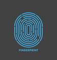 blue line fingerprint in black background vector image vector image