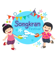 Boy and girl enjoy splashing water in Songkran vector image