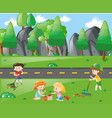 boys and girls working in the park vector image