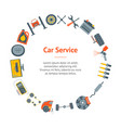cartoon car service banner card circle vector image vector image