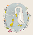 cartoon goose and gosling vector image vector image
