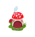 cartoon hobbit house in form of mushroom with red vector image vector image