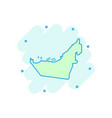 cartoon united arab emirates map icon in comic vector image
