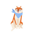 cheerful akita inu wearing glasses and neck scarf vector image vector image