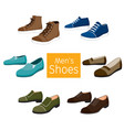 collection of different mens shoes pair vector image vector image
