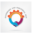 Creative handshake sign and industrial idea concep vector image vector image
