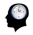 creative ideas clock in head on white vector image vector image