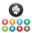 cricket gloves icons set color vector image