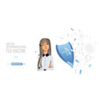 doctor with syringe and tablets medicine vector image vector image