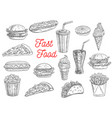fast food burgers sandwiches and snacks sketch vector image vector image