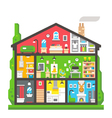 Flat design home interior side view vector image vector image
