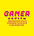 gamer font 3d stylized pixel style alphabet vector image vector image