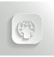 Globe icon - white app button vector image