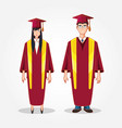 graduate couple avatar character vector image vector image