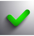 green 3d check sign icon - eps10 vector image