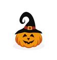halloween pumpkin in hat vector image