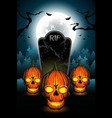 halloween skull and cemetery vector image vector image