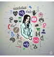 Hand drawn medical icons set and sticker with vector image vector image