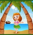 hawaiian dancer girl on the beach vector image