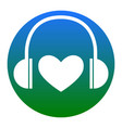 headphones with heart white icon in vector image vector image