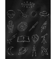 Linear hand drawn icons on chalk Board vector image vector image