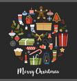 merry christmas symbols of new year signs set vector image