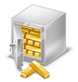 opened safe with gold ingots vector image vector image