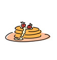 pancakes with jam breakfast simple sketch pen vector image
