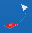 paper airplane with passport vector image vector image