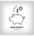 Piggy bank deposit logo Line icon art flat vector image vector image