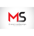 red and black ms m s letter logo design creative vector image