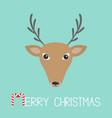 reindeeer head merry christmas candy cane cute vector image