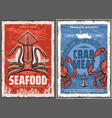 seafood squid and crab meat retro posters vector image