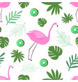 seamless pattern flamingo with leaves and fruit vector image vector image