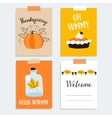 set cute hand drawn thanksgiving cards autumn vector image vector image