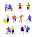 set flat people disabled with their romantic vector image