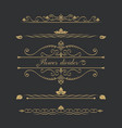 set of gold calligraphical vector image