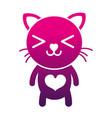 silhouette happy cat cute feline animal vector image