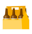 six-pack with bottles of beer cartoon vector image
