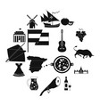 spain icons black vector image