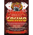 Template flyer for a casino on a red background vector image