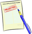 visa application form with rejected stamp vector image vector image