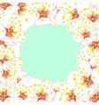 white plum blossom flower border on green mint vector image vector image