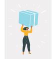 woman carrying big box vector image vector image