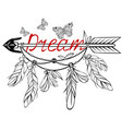 wooden arrow with floral ornament vector image