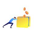 young businessman pushing big heavy wallet forward vector image