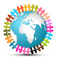 People Holding Hands Around Globe - Earth vector image