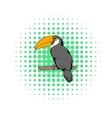 Toucan icon comics style vector image